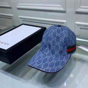 NEW GUCCI Gucci Striped Canvas Baseball Hats Blue